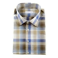 Mens ETRO Tan Blue Paisly Plaid Extrafine Woven Cotton 17 XL 43 NWT $335