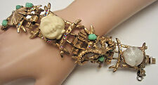 Rare Vtg Signed HAR Gold Tone Jeweled Buddha Coolie Asian Panel Bracelet A51