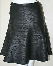 authentic Herve Leger black woodgrain Savio a-line runway skirt new sz L