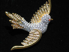 SILVER GOLD CLEAR RHINESTONE SOARING FLYING DOVE WREN SPARROW BIRD PIN BROOCH 3""