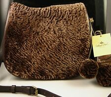 Patricia Nash Shoulder Bag Laser Cut Sherpa Chocolate Brown Leather La Cruz  NWT