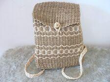 Straw Basket Backpack Bag Brown Mocha Woven Stripe Large Size Unique