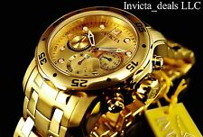 Invicta Men's PRO DIVER Scuba Chronograph 18K GP Gold Dial Stainless Steel Watch