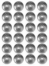 """x24 1.5"""" Silver Ball Cupcake Topper Party Decoration on Edible Rice Paper"""
