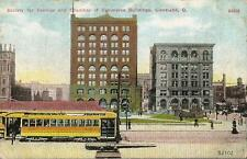 Postcard Ohio Cleveland Society for Savings Chamber of Commerce Street Car 1910