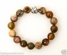 Simon Sebbag Fac Petrified Wood Stretch Bracelet Sterling Silver Bead B106/FPW