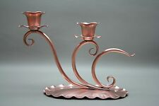 Hand Hammered #421  Gregorian USA Solid Copper Pair Candlestick Candle Holder
