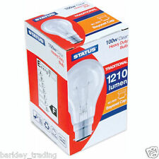 10 X 100 WATT LIGHT BULB CLEAR BULBS DIMMABLE LIGHTS LONG LIFE  BC BAYONET CAP