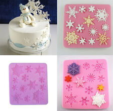 DIY Silicone Snowflake Cake Fondant Jelly Chocolate Baking Moulds Soap Molds BA