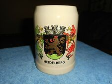 VINTAGE WEST GERMAN BEER MUG HEIDELBERG COAT OF ARMS CASTLE LIONS AND SHEILD