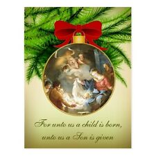 "+""Christmas Ornament/Nativity-""For Unto Us A Child Is Born"" ~Post Card~ (B-112)"