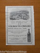 1908 VERMOUTH CINZANO STABILIMENTO SANTA VITTORIA D' ALBA ANTICA PUBBLICITA EPOC