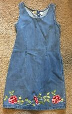 Newport News Jeanology Collection Floral Stitched Denim Jean Dress Size 10