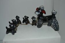 Vintage Black Red Clay Mother and Five Puppies  Poodle Dog