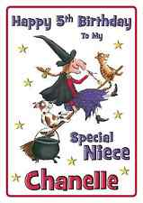 room on the broom personalised A5 birthday card daughter sister brother name age