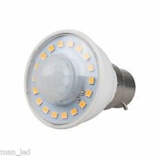 BC B22 3W PRESENZA PIR Movimento Sensore Rivelatore Led Lampadina Cool Bianco 6000K
