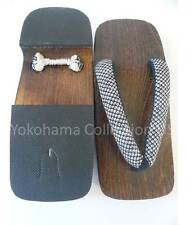 "JAPANESE MEN'S WOODEN GETA FLIP FLOPS SANDALS ""SHIBORI"" PATTERN/10.5 - 11"