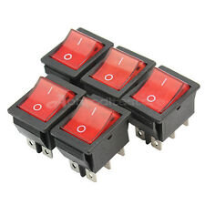 5x Press Button Square On-Off Rocker Switches Toggles AC 250V 20A Plastic ap7e