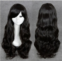 Long Wavy Wig Cosplay Synthetic Hair Curly Women Vogue Anime Full Wig Black Wig