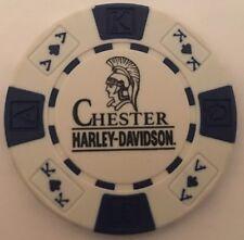 CHESTER, ENGLAND HARLEY DAVIDSON POKER CHIP (WHITE & BLUE) UK