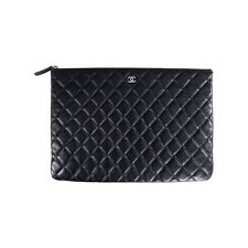Auth Chanel Black Lambskin Quilted Document Portfolio Case iPad Clutch Env  Bag