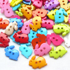 50pcs Rabbit Plastic Buttons 2 Holes Sewing Craft 18mm Mix
