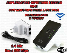 AMPLIFICATORE RIPETITORE WIFI SEGNALE WIRELESS RANGE EXTENDER 300Mbps 2.4GHz