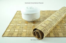 4 Luxury Placemats Table Mats, Handmade Chunky Bamboo Wood, Light Brown, CP008