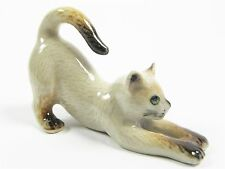 Miniature Porcelain Hand Painted Siamese Cat Stretching Figurine