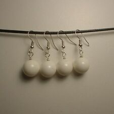 2 Pairs White Jade beads silver earrings ( E130 )