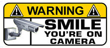 SET of 4 WARNING SMILE CCTV VIDEO DECAL SIZE 80MM BY34MM MADE IN AUSTRALIA