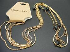 """$18 Stephan & Co Triple Layer Chain Black Bead Beaded Station Necklace 37"""" Long"""