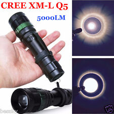 Zoom 5000 Lumen Zoomable CREE XM-L Q5 LED Flashlight Torch Super Bright Light