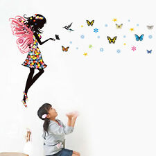 FAIRY Girl Butterflies Wall Sticker Mural Decal Kids Room Nursery Decor PVC Art