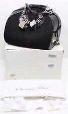 CHRISTIAN DIOR Python Suede Gambler Bag Dice Bowler Black Handbag 100% Authentic