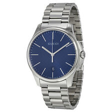 Gucci G-Timeless Large Blue Diamond Pattern Dial Stainless Steel Mens Watch