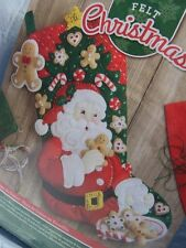 "18"" BUCILLA SANTA SNACK TIME COOKIES FELT EMBROIDERY BEAD CHRISTMAS STOCKING KIT"