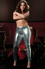Stretch Lame Tights New Adult Womens Valentine Lingerie Sexy Silver Queen Size