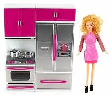 My Modern Kitchen Stove Refrigerator Doll Pretend Play Toy Ages 3+ Girls Gift