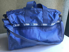 New $104 LeSportsac Denim Pique Medium Weekender Blue Duffle Travel Bag