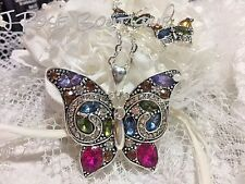 FALL CRYSTAL BUTTERFLY EARRING NECKLACE SET W/CHAIN SILVER PLT 925 COLORFUL XMAS