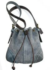 Cute Vtg Coach Soho Small Drawstring Crossbody Messenger Purse Bag Blue Suede