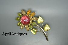 Vintage French Cis Countess pink poured glass flower rhinestones Brooch