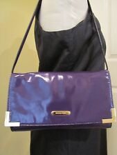 Michael Kors Beverly Patent Leather Oversized Clutch/ Shoulder Bag Iris/Purple