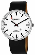 Bahnhof Men's Watch White Silver Leather Date Railway Train G-60463614114500