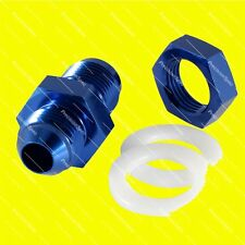 AN8 8AN JIC STRAIGHT MALE FLARE FUEL CELL TANK BULKHEAD FITTING ADAPTER - BLUE