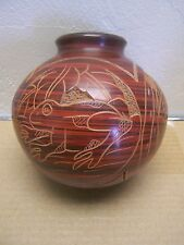 Clay Pot with Etched Jungle Animals - Nicaragua