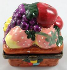 Wicker Basket of Fruit Miniature Porcelain Mini Hinged Lid Pill Ring Storage Box