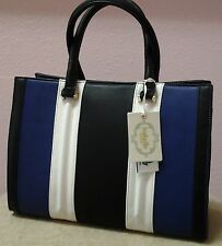 Blue Black White Striped Clutch Purse Isabelle Handbags Vegan Lead Free