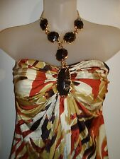 Sky Clothing Brand S Mini Dress Gold Jeweled Halter Printed Animal Holiday Party